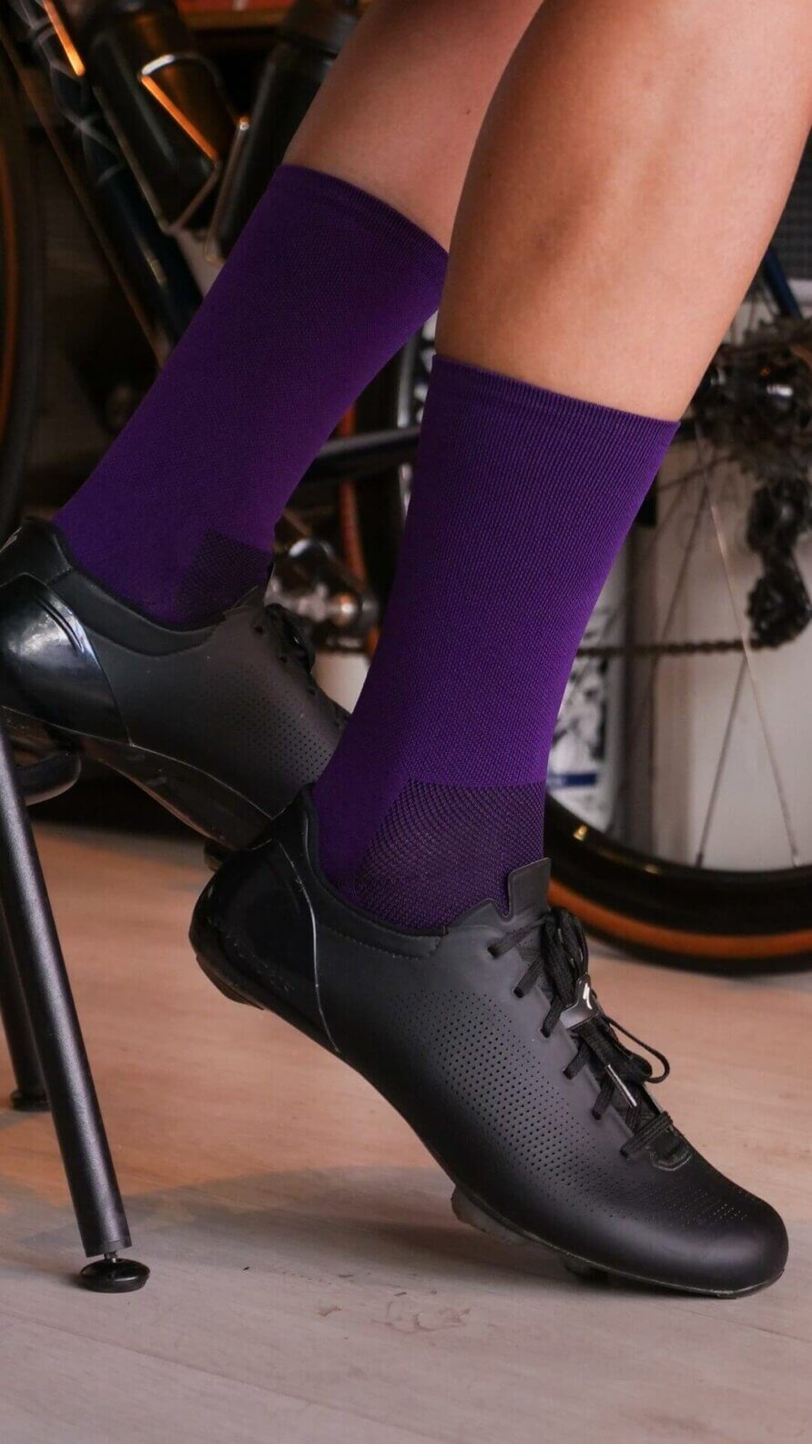 purple nologo cycling socks