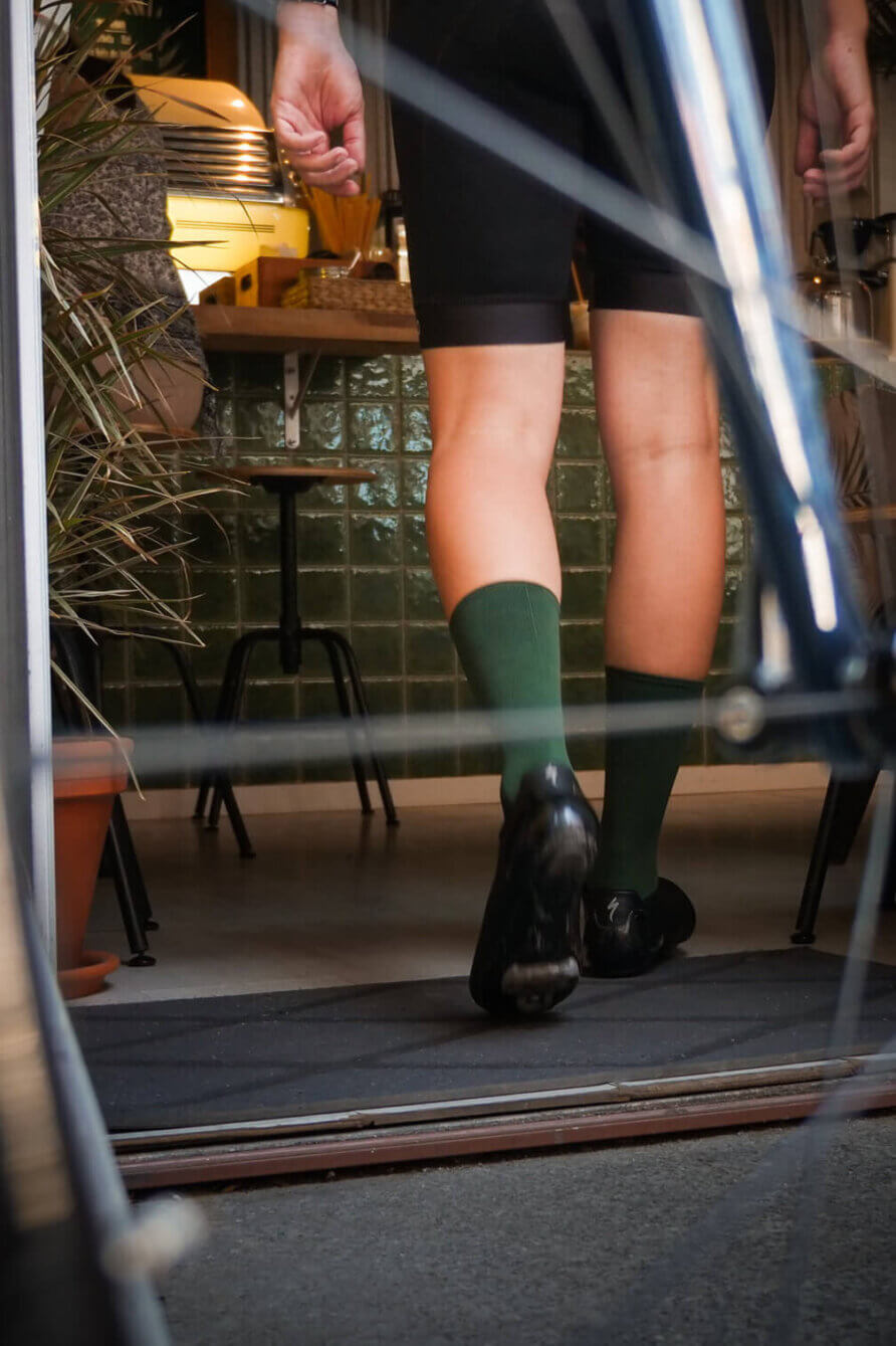 green nologo cycling socks interior shot