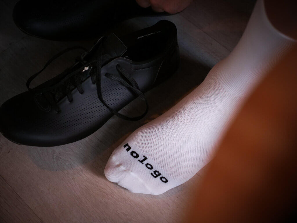 white nologo cycling socks fabrics detail