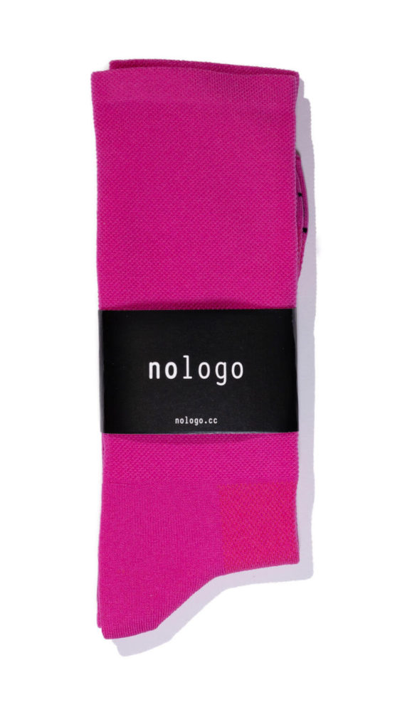 nologo fuchsia cycling socks
