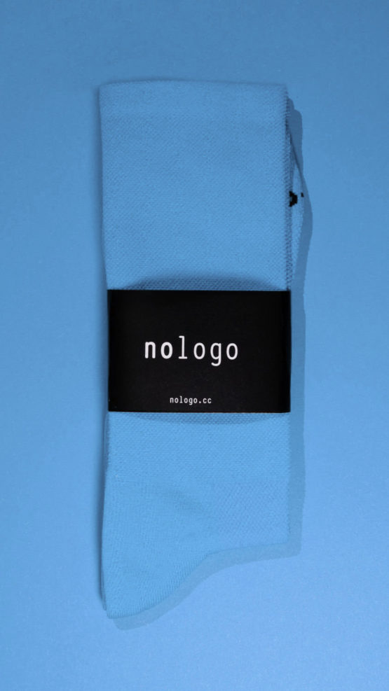 nologo blue cycling socks on blue background